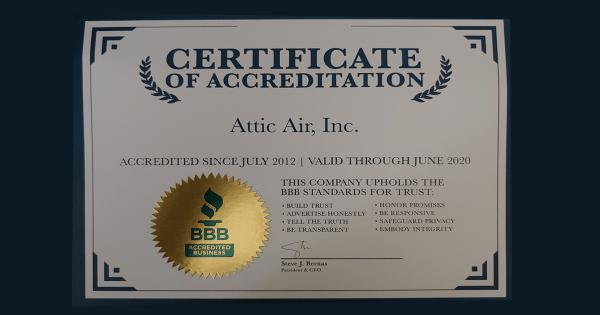 BBB Certificate for Attic Air