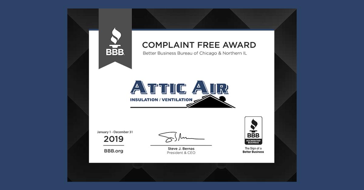 Attic Air BBB Award 2019 Image