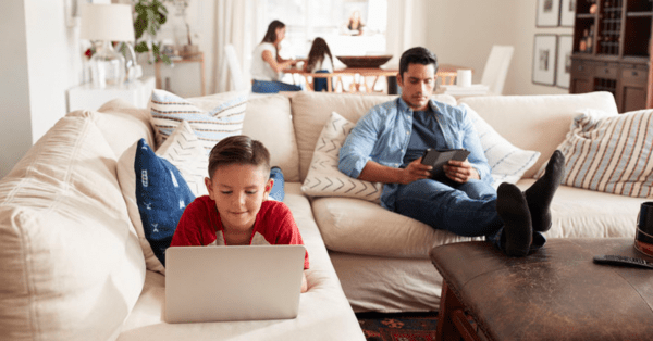 family at home during covid 19 image